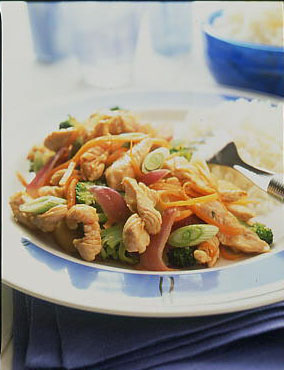 Stir fried british turkey with broccoli and red onion